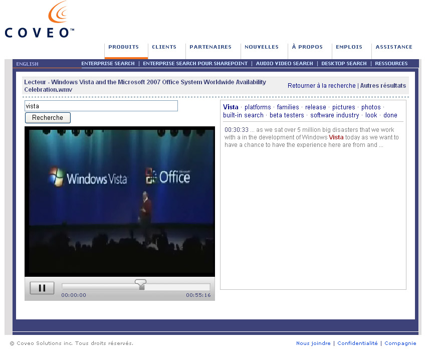 coveo audio and video search engine