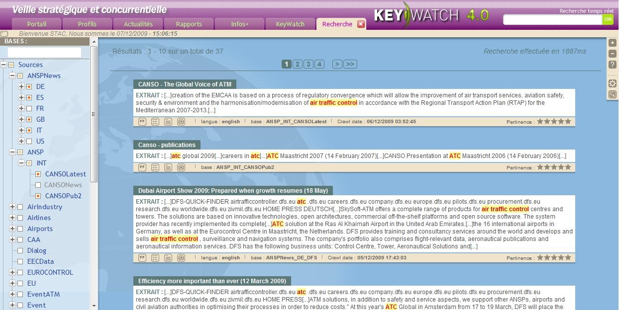 Interface de visualisation des résultas du moteur de recherche intégré dans KeyWatch, plateforme de veille stratégique