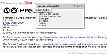 Factiva ajoute la traduction automatique à ses fonctionnalités