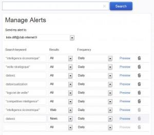 Yahoo Alerts, système de veille par alertes mails sur le moteur de recherche Yahoo - Intelligence économique et veille